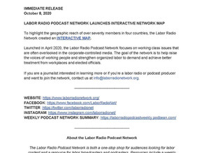 PRESS RELEASE: LABOR RADIO PODCAST NETWORK LAUNCHES INTERACTIVE NETWORK MAP