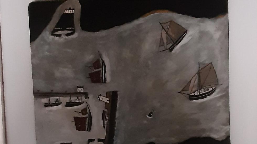 """Ships in Mounts Bay  20 x 16"""""""