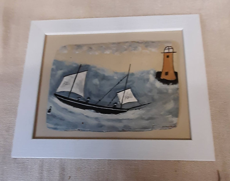 "Lugger and Yellow Lighthouse   12"" x 10"""