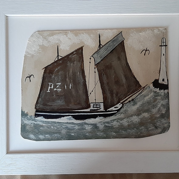 """Lugger and Seagulls - Alfred Wallis Homage Original Painting 12"""" x 10"""""""