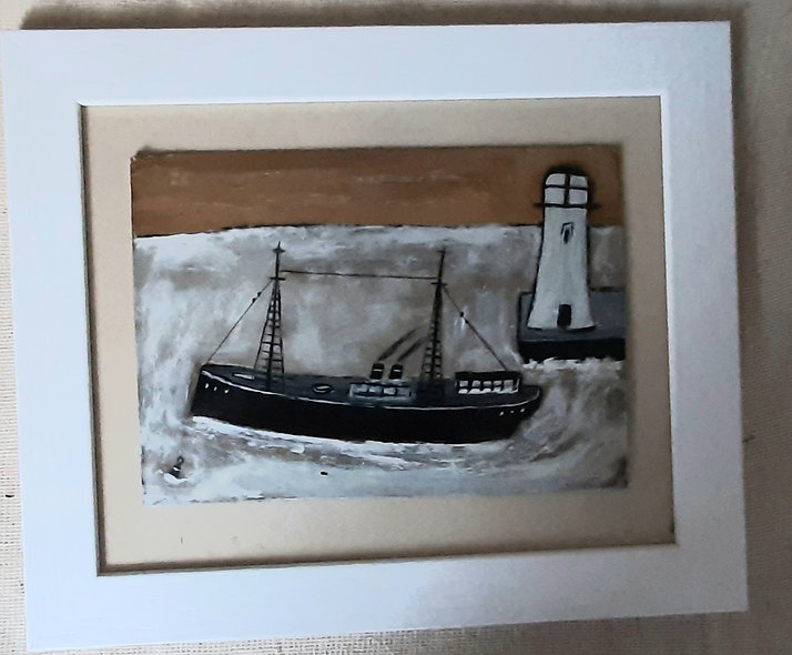 "Steamer and lighthouse   12"" x 10"""