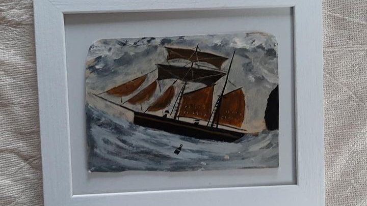 Alfred Wallis style painting on solid card