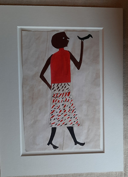 Woman with Bird - after  Bill Traylor