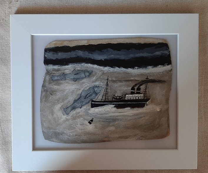 Two fishes - Alfred Wallis Homage Painting **SOLD**
