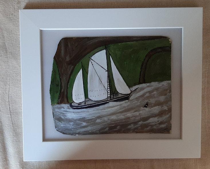 "Full Sail - Original Alfred Wallis Homage Painting. 12"" x 10"""