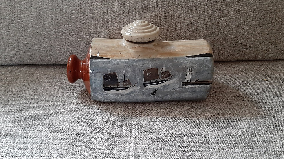 Victorian Stoneware Hot Water Bottle painted  with  2 Luggers