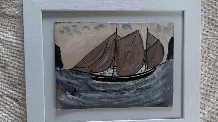Schooner painted in the style of Alfred Wallis