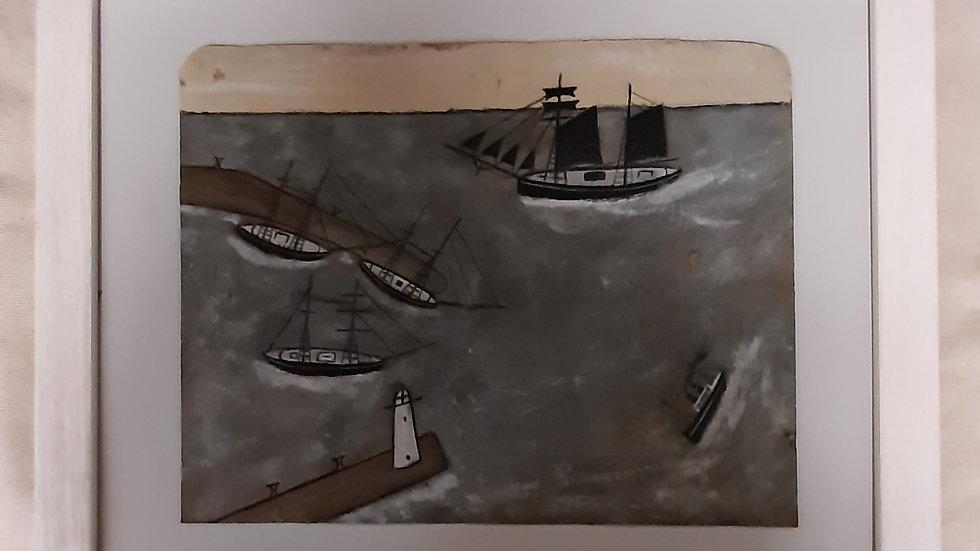 """""""Schooner passing Port""""  20 x 16"""
