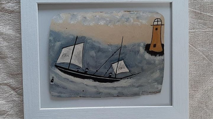 "In Alfred Wallis style - ""The Yellow Lighthouse"""