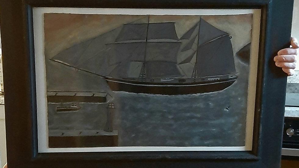 Topmast Schooner Leaving Harbour