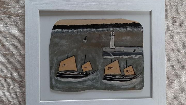 Luggers leaving Port.  Manner of Alfred Wallis