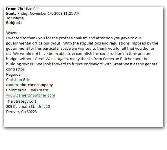 Cameron Butcher Company Letter