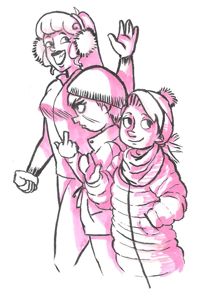 the girls in winter gear