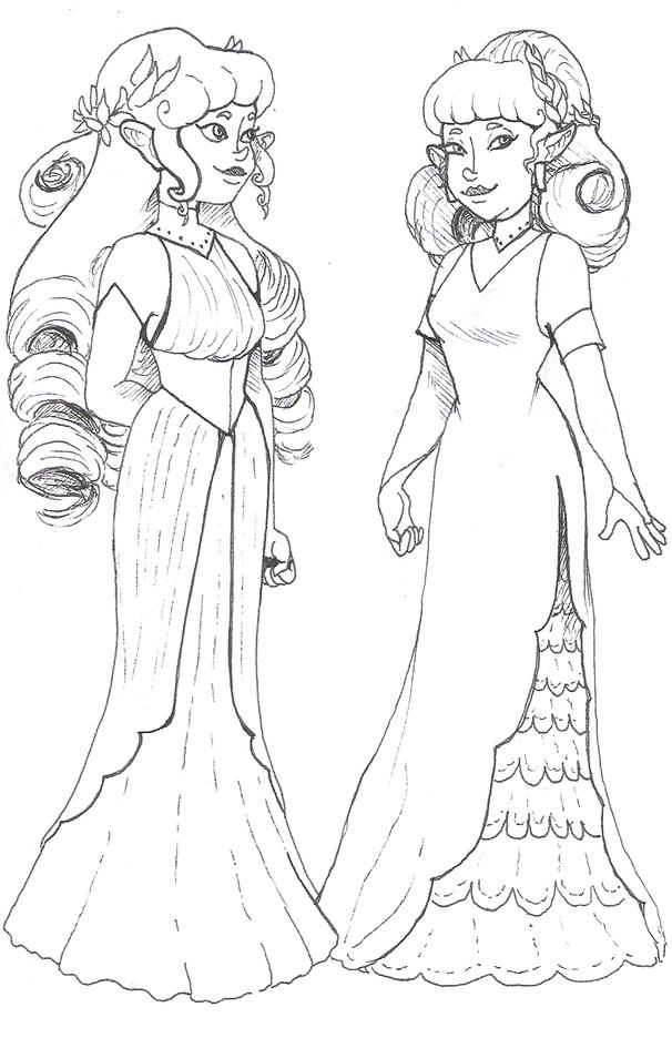 Zetha and Liara formal wear