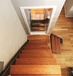 wood and steel staircase to loft