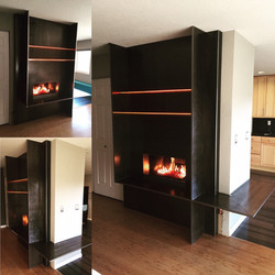 backlit custom fireplace