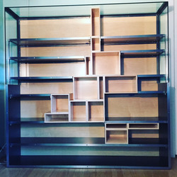bookcase mixed glass, steel and wood