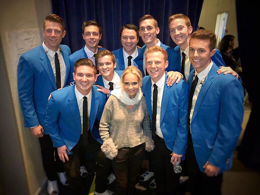 Matt Newman and the Vocal Point guys with Kristin Chenoweth