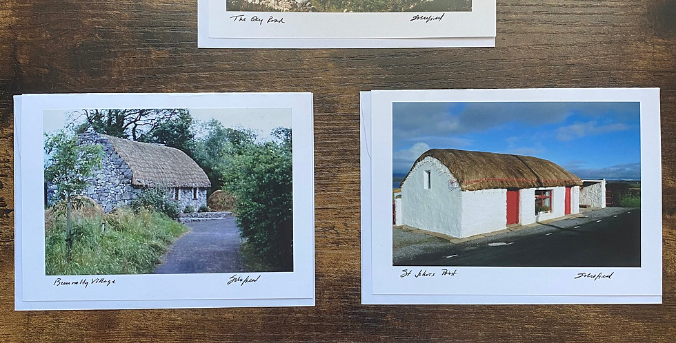 Set of 4 Irish Thatched Cottage Greetings Cards