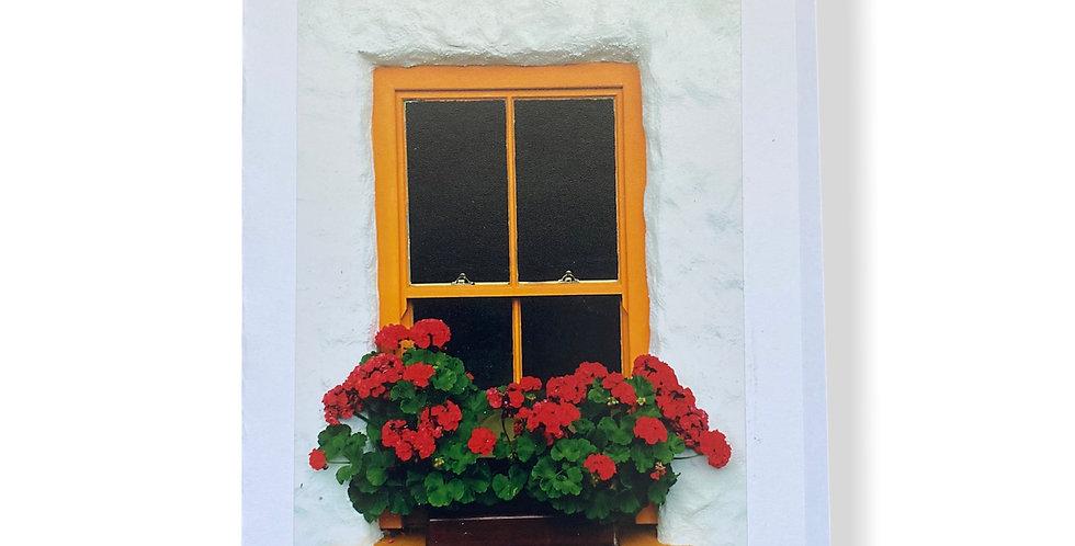 Yellow Irish Window with Flowers Greetings Card