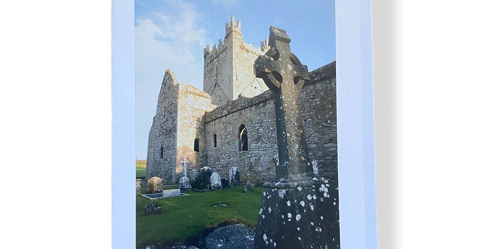 Irish Church and Celtic Cross Greetings Card
