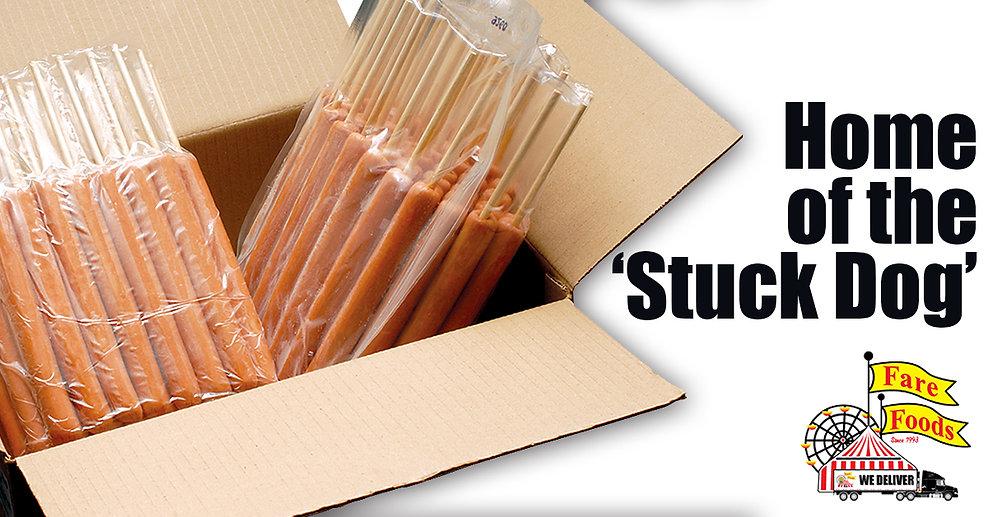 Box of Pre-stuck hotdogs used to make Corn Dogs.