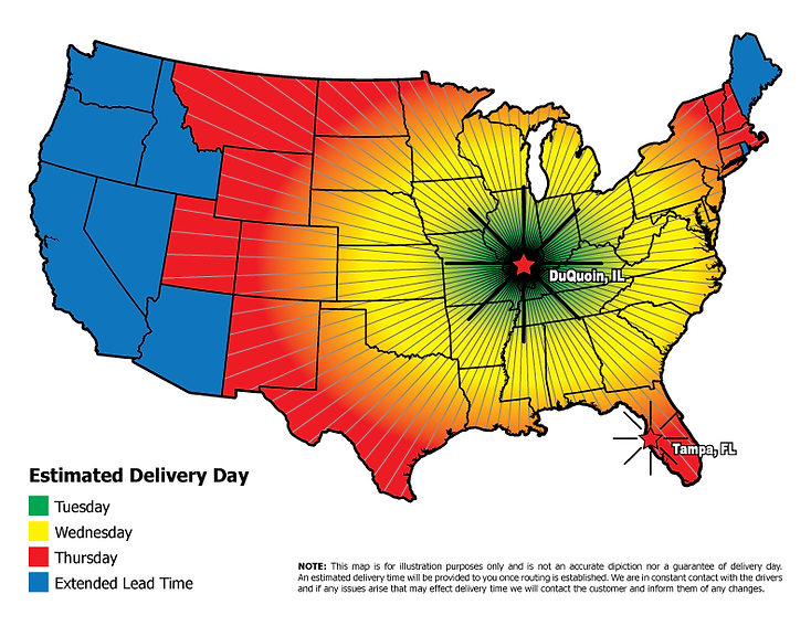 Estimated Delivery Day Map