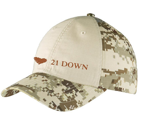 21 Down Camo Baseball Hat
