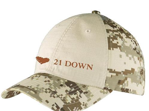 21 Down Camo Baseball Hat