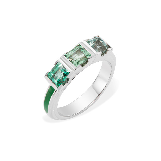 Emerald Trilogy Engagement Ring