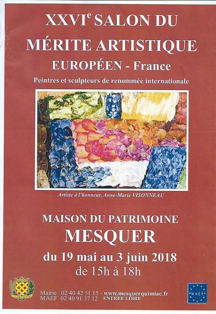 Salon du Mérite Artistique Européen Mesquer(44)  18/5 au 03/06/2018