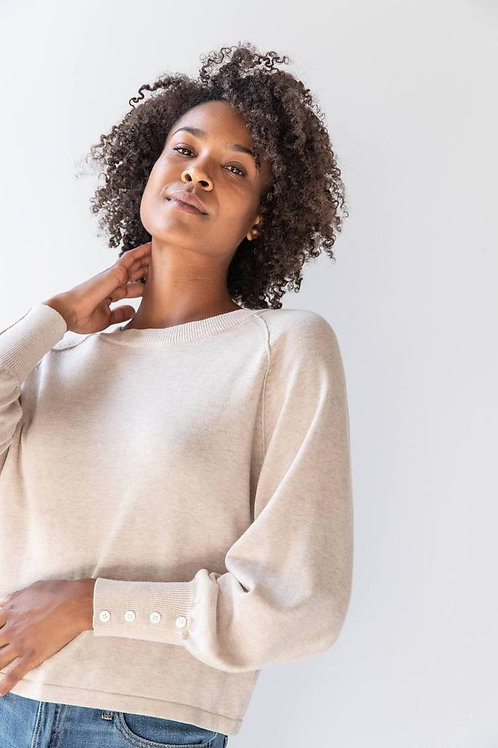 Button Sleeve Sweater by Lilla P