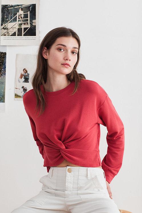 Velvet Knot-front Sweatshirt