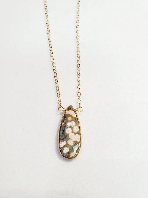 Teardrop Dalmatian Jasper necklace by Rustic Gem