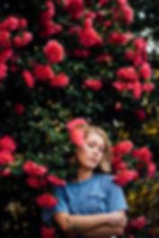 Female portrait flowers
