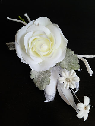 White Rose branch with laces ribbon