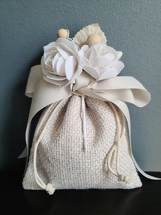 Textured Pouch with Cotton bouquet roses or Daises bouquet