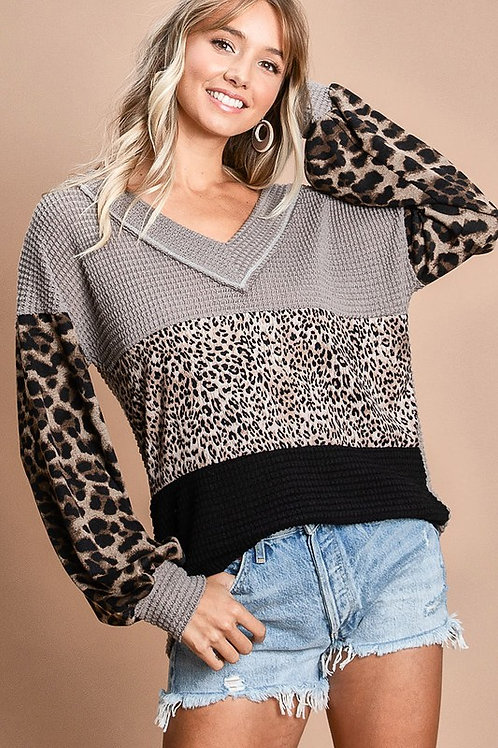 Block top with leopard puff sleeves