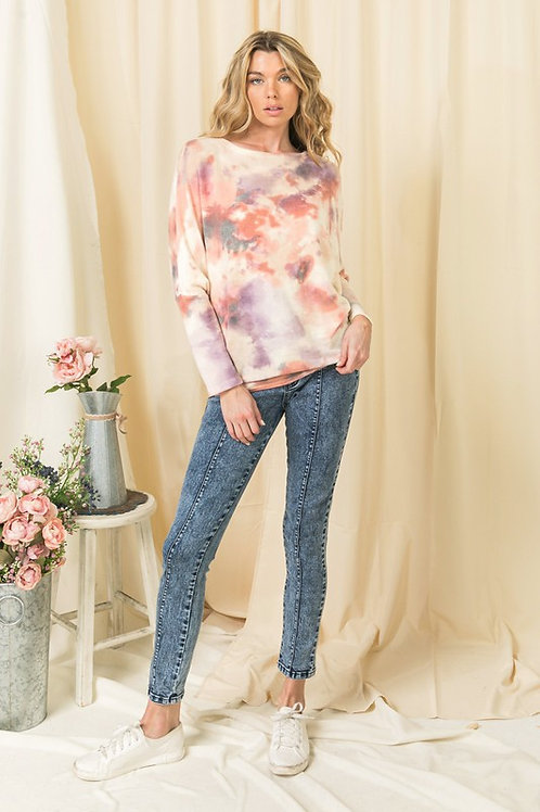 Knit top with round neck - long sleeve