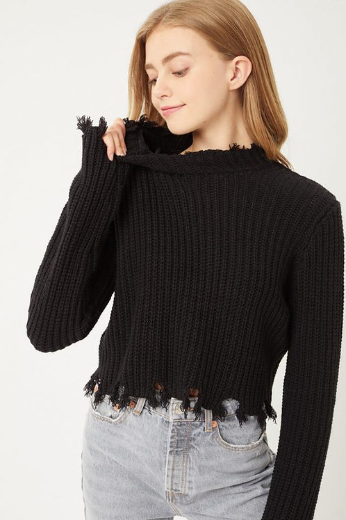 Raw Edge Crop Sweater Long Sleeve