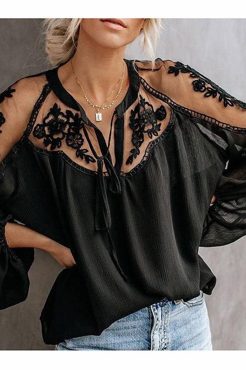 Floral lace cut out shoulder top