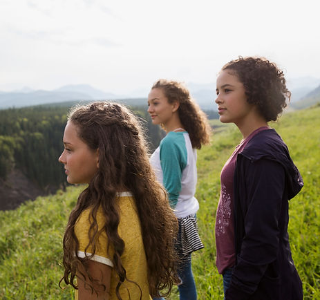 girls exploring the great outdoors on a hiking field trip