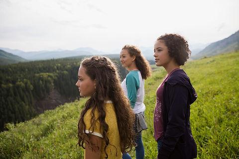 Teenagers admiring nature