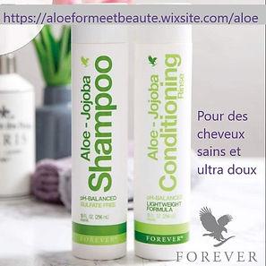 L'Après Shampoing Aloe-Jojoba, formulé avec de l'Aloe Vera stabilisée, est enrichi avec un complexe de pro vitamines B, trois huiles naturelles, ainsi qu'une touche d'huile essentielle de Lavande vraie, pour un parfum délicat. Cet après shampoing a été formulé pour agir en synergie avec le Shampoing Aloe Jojoba. Il laisse les cheveux doux et brillants.  Contenance : 296 ml Prix France Métropole TTC : 23.75 €  Réf. 522 Aloe Vera (37,3%)ALOE JOJOBA SHAMPOOREF. 521 - FOREVER LIVING FRANCE Le Shampoing Aloe Jojoba est formulé avec de l'Aloe Vera stabilisé, des huiles de Jojoba et d'églantier, et de l'huile essentielle Forever de Lavande vraie. Il restaure l'hydratation et ajoute du corps aux cheveux. Grâce à sa base lavante douce, au pH neutre, il respecte le cuir chevelu fragilisé. Les cheveux sont souples, doux et brillants. Convient à tous les types de cheveux.  Contenance : 296 ml Prix France Métropole TTC : 25.7 €  Réf. 521 Aloe Vera (39,5%)