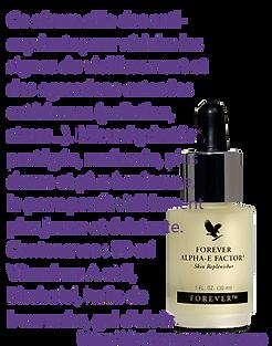 Ce sérum allie des anti-oxydants pour réduire les signes du vieillissement et les signes d'agressions cutanées extérieures (pollution, stress…). Mieux hydratée*, protégée, renforcée, plus dense et plus lumineuse, la peau paraît visiblement plus jeune et éclatante. *Hydratation des couches supérieures de l'épiderme  Contenance : 30 ml Prix France Métropole TTC : 48.2 €  Réf. 187 Vitamines A et E, Bisabolol, huile de bourrache, gel d'aloès.
