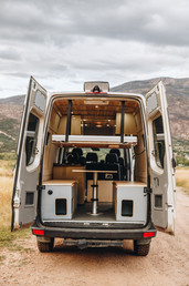 Exterior Rear View with Lifting Bed and Dinette