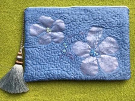 Silk Clutch Bag - Blue