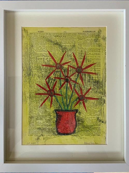 Framed Stitched Mono Print