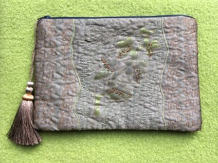 Silk Clutch Bag - Sage Green