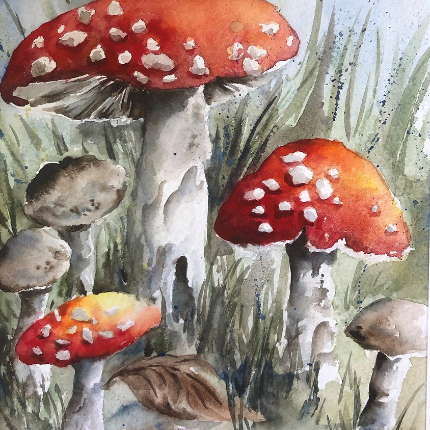 Toadstools - Watercolour Painting (1)